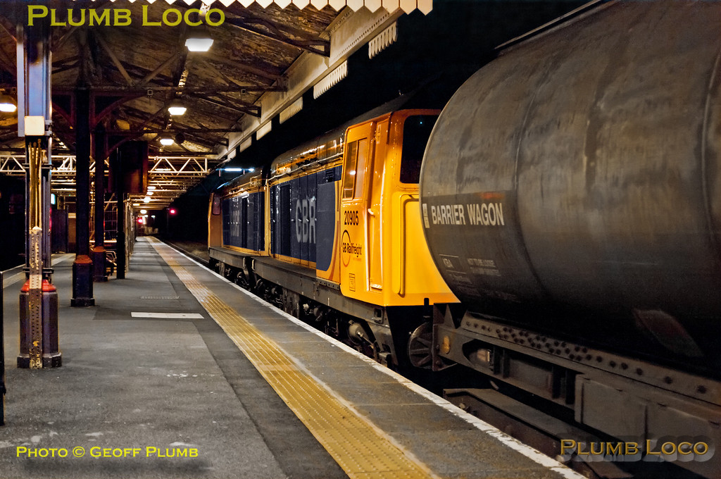 """Having reversed at Princes Risborough, 20905 and 20901 are now bringing up the rear of 7X09 as they depart towards Aylesbury at 23:52. This is the LUL """"S"""" Stock delivery train from Old Dalby to Neasden, its first run of 2013 on Wednesday 2nd January. Digital Image No. GMPI13536."""