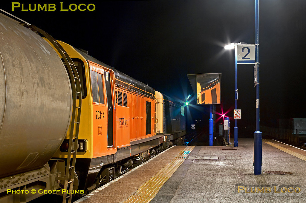 """Deliveries of LUL """"S"""" Stock continue into 2013 with the first run from Old Dalby to Neasden on Wednesday 2nd January 2013. During the reversal procedure at 23:44 at Princes Risborough, HNRail liveried 20314 and 20096 await departure towards Aylesbury after the train arrived behind 20901 and 20905 a few minutes earlier. Digital Image No. GMPI3506."""