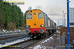 "DRS Class 20s Nos. 20308 and 20312 had arrived at Princes Risborough station at 07:51 for a pathing stop to allow a fast Chiltern service to overtake. 168 219 having passed them, they start away at the head of 1Z20, Pathfinder's ""Buffer Puffer"" tour, initial leg 05:05 from Crewe to Liverpool Street. Due to depart at 08:03, they are running a couple of minutes early at 08:01 on Saturday 26th Janury 2013. Digital Image No. GMPI13812."