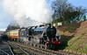 After a slight slip, Stanier Black 5 45379 departs Ropley in style with the 10:22 service to Alton 14/02/2015.