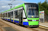 Built for TramLink by Stadler rail, Variobahn Tram 2555 at the Waddon Marsh stop 01/03/2015.