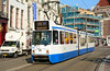 GVB Amsterdam tram 832 is seen in Rokin on service 16, in some cracking early morning sun 13/03/2015.