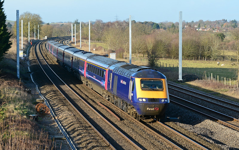 FGW power car 43012 has charge of 1A17 the 12:30 Bristol Temple Meads to London Paddington, seen here powering through Lower Basildon 16/01/2015.
