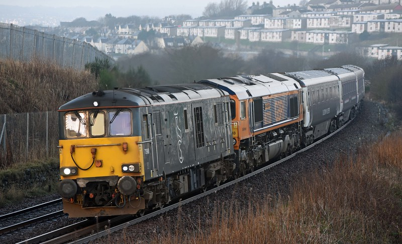 73768 and 66733 return south with the sleeper ECS on Saturday 21st January due to engineering work in the Carnoustie area
