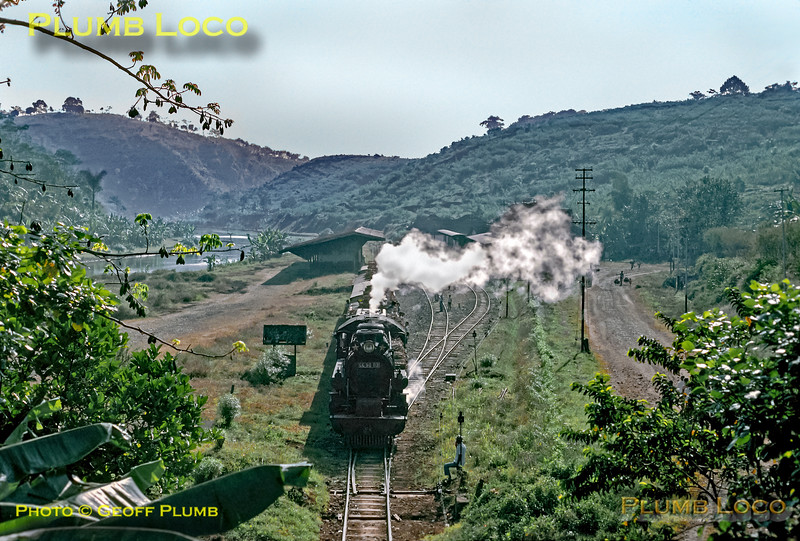 PNKA (Indonesian State Railways) Class CC50 2-6-6-0 Mallet No. CC50 03 starts away from Tuntang station with an early morning train from Kedungdjati to Ambarawa in mountainous Central Java, Wednesday, 1st August 1973. This engine was built by Werkspoor of Amsterdam in 1928. Slide No. 12218.