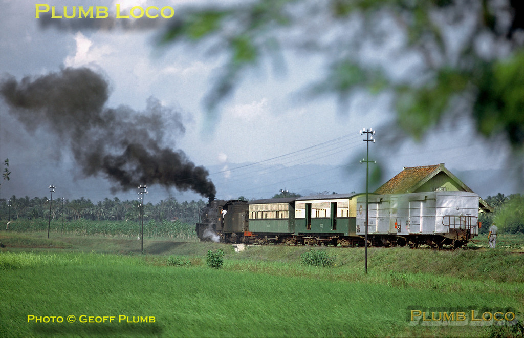 PNKA 2-8-2 No. D51 03, Hartmann No. 4131 of 1920, is working the 13:30 mixed train along the branch line from Kutoardjo to Purworedjo and has stopped here at Batoh station in southern Central Java. The loco is one of ten originally ordered for the Hedjaz Railway. Saturday 21st July 1973. Slide No. 11558.