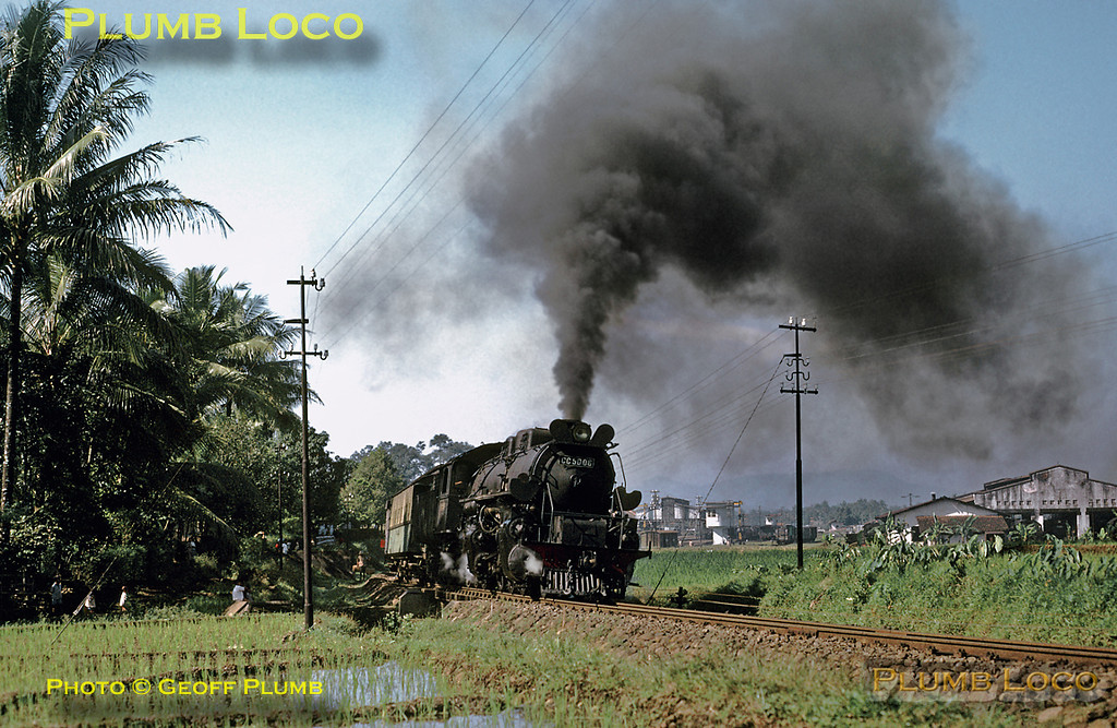 PNKA (Indonesian State Railways) Class CC50 2-6-6-0 Mallet No. CC50 06 pulling away from Purwokerto with the 08:45 mixed train to Prupuk in Central Java, running only 15 minutes late! Saturday 21st July 1973. This engine was built by Werkspoor of Amsterdam in 1928. Slide No. 11507.