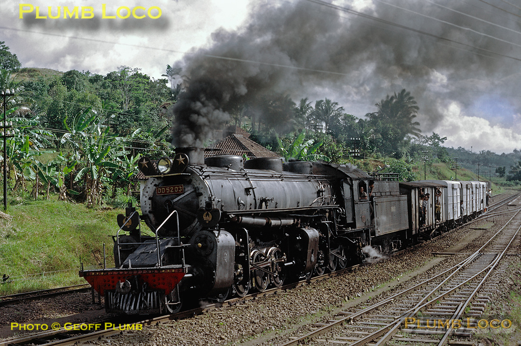 After stopping at Malangbong station for some time while goods were loaded and unloaded, 2-8-8-0 Mallet No. DD52 03 now restarts its train to continue its journey from Tjibatu to Tasikmalaja. This was train 348, 12:15 from Tjibatu and due into Tasikmalaja at 15:50, though it was running somewhat later than this! Thursday 19th July 1973. Slide No. 11305.
