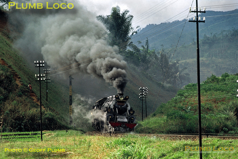PNKA (Indonesian State Railways) DD52 Class 2-8-8-0 Mallet No. DD52 03 works a mixed goods train from Tjibatu to Tasikmalaja, approaching Tjipeundeuj in the mountains of south western Java on the afternoon of Thursday 19th July 1973. This engine was built by Hanomag in Germany in 1923. Slide No. 11311.