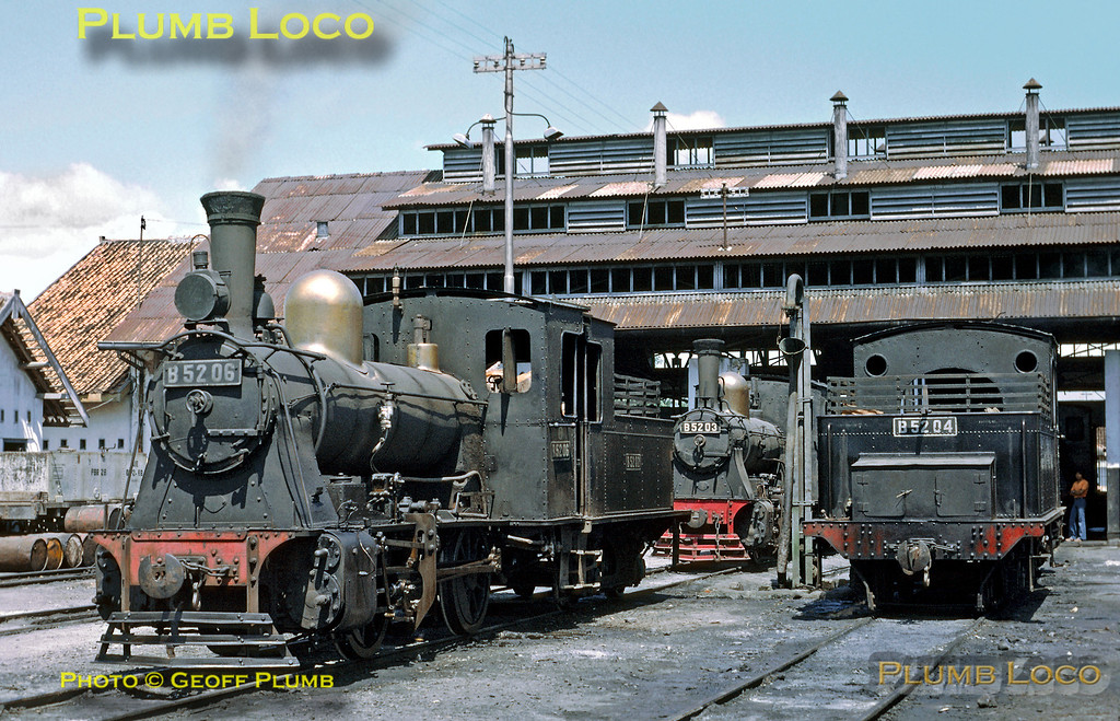 Kudus loco shed was home to several B52 class 0-4-0s, three members of the class seen here in the depot yard. B52 06 is in steam and B52 03 and 04 await their next duties. The twenty seven  B52s were all built by Hartmann in four batches between 1908 and 1913. Monday 23rd July 1973. Slide No. 11705.