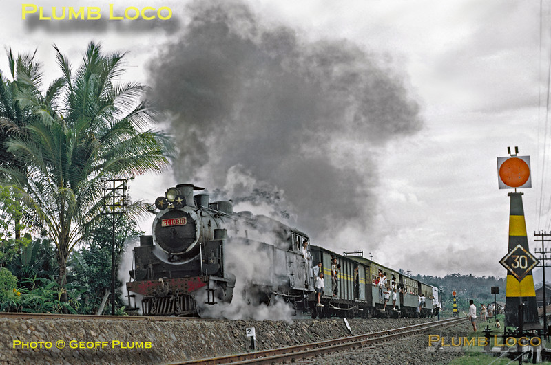 Mallet 2-6-6-0T No. CC10 30 departs from Tjibatu with its mixed train to Garut and Tjikadjang. This was presumably train 364, booked to leave Tjibatu at 12:35 and probably somewhat late, though I didn't make a note of the time...  Thursday 19th July 1973. Slide No. 11291.