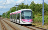 CAF Urbos 3 tram 30 in the distinctive silver & magenta livery of Midland Metro, is seen heading for Birmingham Snow hill 04/07/2015.