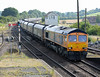 66705 at Barnetby on Monday 3rd August with loaded coal hoppers