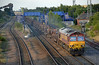 66005 with the Sunday evening Scunthorpe to Lackenby loaded steel passes Hatfield and Stainforth on 2nd August 2015