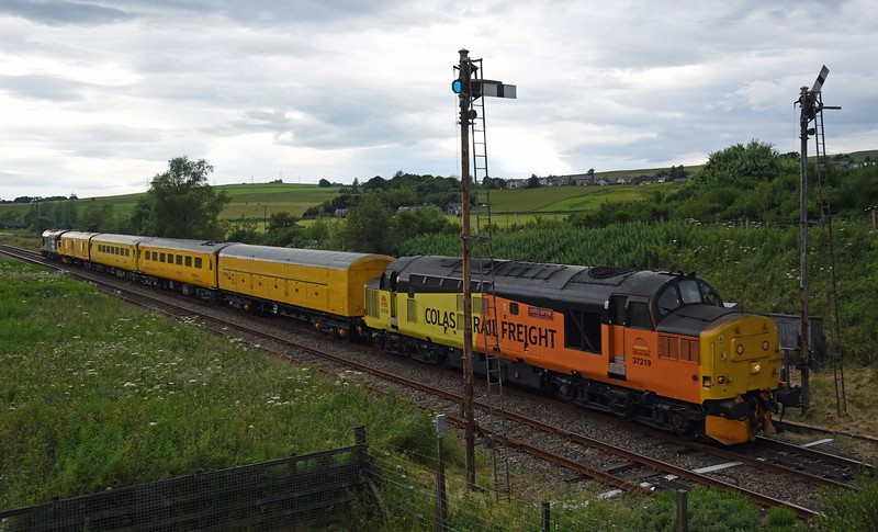 37219 leads 37025 on a test train out of the Keith Loop on 8th July 2017