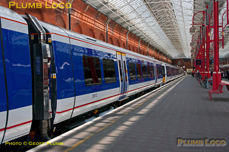 """Chiltern Railways Class 172/1 No. 172 102 stands in Platform 1 at Marylebone station during the short ceremony to launch the class into official service, Friday 15th July 2011. Digital Image No. GMPI9762. There is also a """"3D"""" version of this shot in the """"Three Dimensional!"""" collection."""