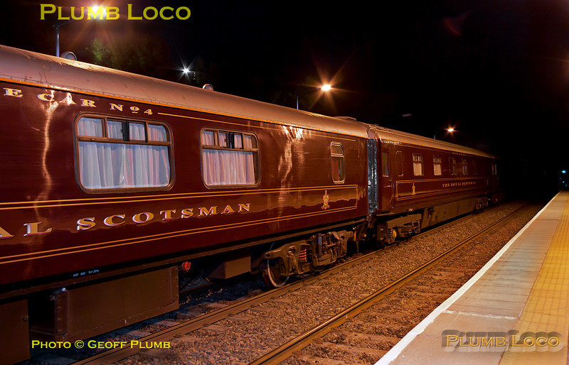 The Royal Scotsman train has now returned from reversing at High Wycombe and stands in the platform at Haddenham & Thame Parkway station whilst the passengers reboard after their dinner at Le Manoir aux Quat' Saisons. Unfortunately, as expected with such a long train, both locos were off the ends of the platforms, 57001 on the front and 37685 on the rear. 22:42, Tuesday 12th July 2011. Digital Image No. GMPI9711.