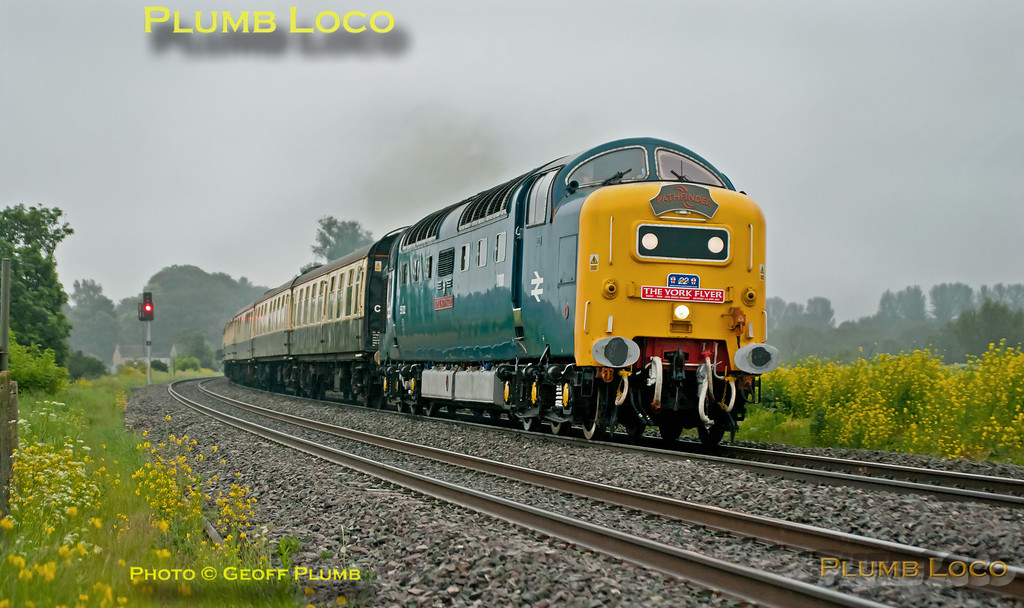 """Deltic"" No. 55022 (D9000) ""Royal Scots Grey"" powers northwards through a very damp and murky King's Sutton on another miserable June morning. It is at the head of ""The York Flyer"", 1Z80, 06:31 from Didcot Parkway to York to visit ""Railfest"". It is running a few minutes late at 07:09 on Saturday 2nd June 2012 and sounding lovely! Digital Image No. GMPI12179."