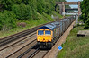 GBRF 66760 has charge of 4Y19 Mountfield-Southampton W, Docks  empty Gypsum, seen here passing Totters lane near Winchfield on the SWML 11/06/2015.