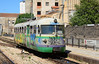 Built by Fiat these single car narrow gauge Dmus form the back bone of the service on Sardinia. This example ADm 52 is seen arriving at Sassari.
