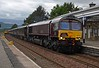 66743 runs north through Kingussie with the Royal Scotsman on the 13th June (66737 on rear).