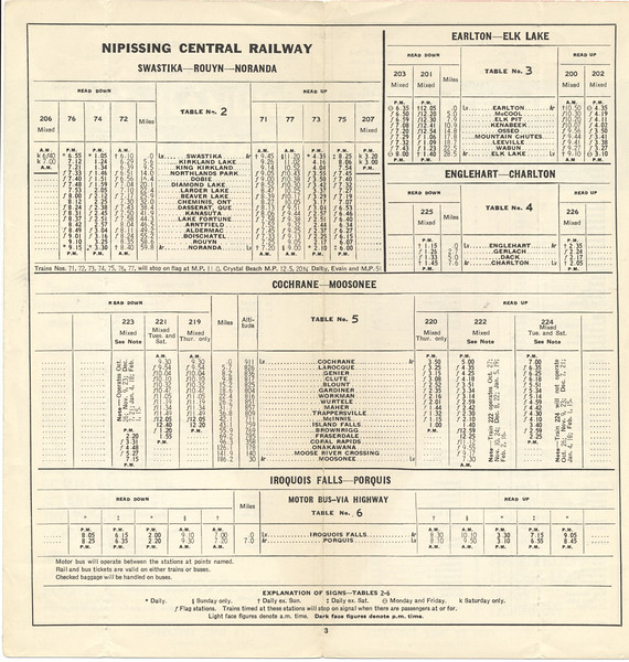 Temiskaming and Northern Ontario timetable June 27 1937 corrected to October 26 1937. Swastika - Rouyn - Noranda, Earlton - Elk Lake, Englehart - Charlton, Cochrane - Moosonee, Iroquois Falls - Porquis bus