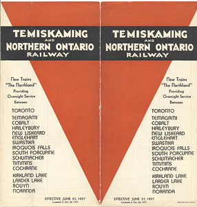June 27 1937 timetable Temiskaming and Northern Ontario Railway