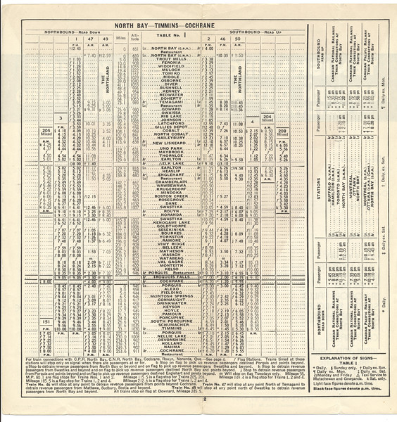 Temiskaming and Northern Ontario timetable June 27 1937 corrected to October 26 1937. North Bay - Timmins - Cochrane