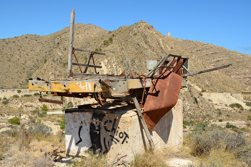 The remains of an Alicante trailer car seen at Barranco De Aguas 30/06/2014.<br /> I think even Critch tram museum would struggle to rebuild this, a sad sight.