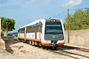 Meter gauge DMU 2508 departs Benissa station with the 18:33 service to Benidorm  25/06/2014.