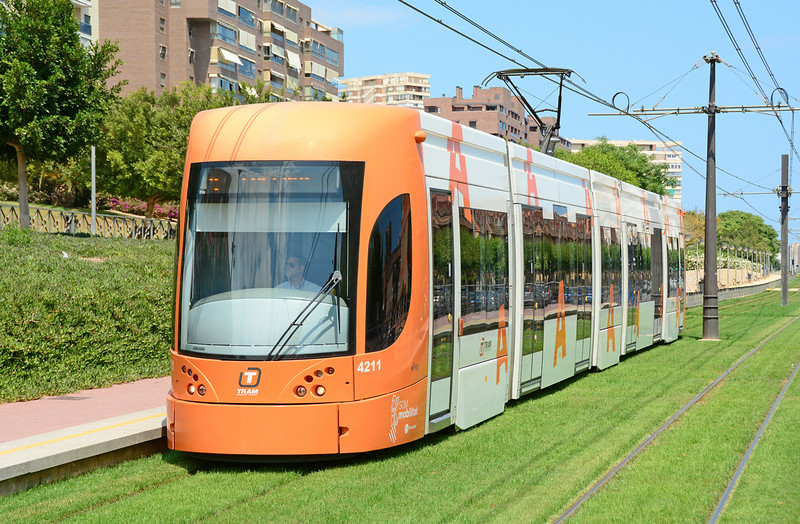 Tram 4211 is seen at Tridente Alicante on service 4 heading back to Luceros 26/06/2014.