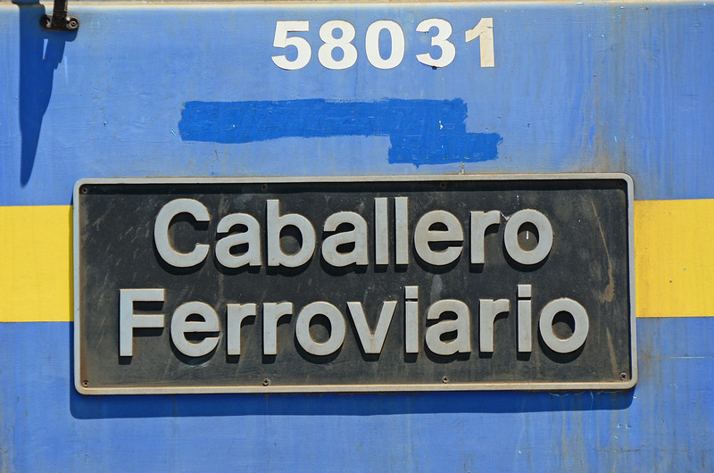 "Continental Rail 58031 named ""Caballero Ferroviario"", in a BR style nameplate."