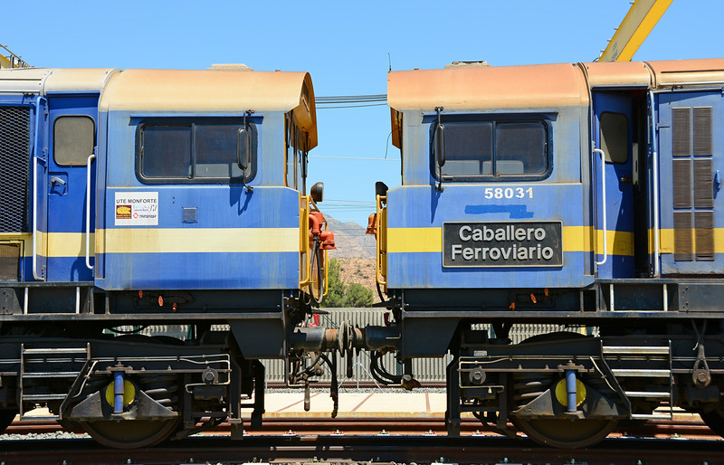 "58029 & 58031 named ""Caballero Ferroviario"" stand buffer to buffer."