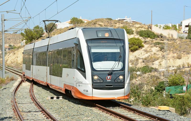 Tram 4156 arrives at Venta Lunaza, heading for Luceros Alicante 22/06/2014.