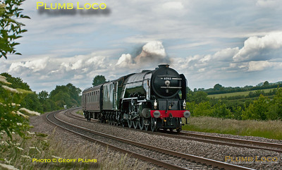"""Having only recently returned to the main line after a major rebuild, A1 4-6-2 No. 60163 """"Tornado"""" now carries BR Brunswick Green livery and has been fitted with a lipped double-chimney. It is seen here at Clattercote foot-crossing running as 5Z20 with just its support coach in tow from Crewe to Didcot, a couple of minutes early at 14:24 on Thursday 9th June 2011. Digital Image No. GMPI9412."""