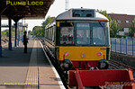 "Chiltern's newly refurbished ""bubblecar"" 121 034 stands in the bay platform at Princes Risborough, prior to working the 07:10 train to Aylesbury, despite the destination on its route blind! 07:09, Tuesday 1st June 2011. Digital Image No. GMPI9352. There is also a ""3D"" version of this shot in the ""Three Dimensional!"" gallery."