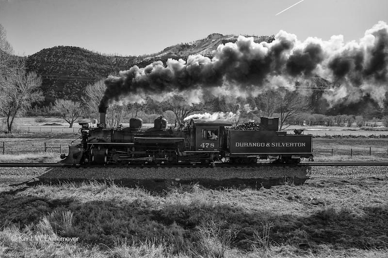 Durango & Silverton #478 Running Northbound from Durango