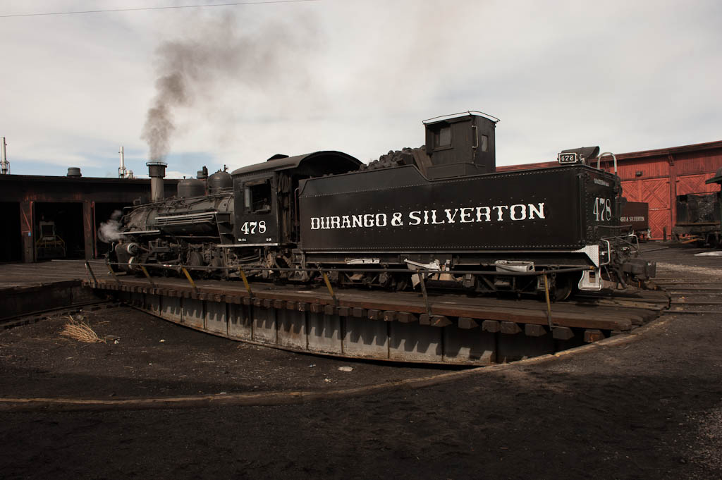 #478 on the turntable at Durango headed to its 'berth' for the night. Tomorrow is another big day.