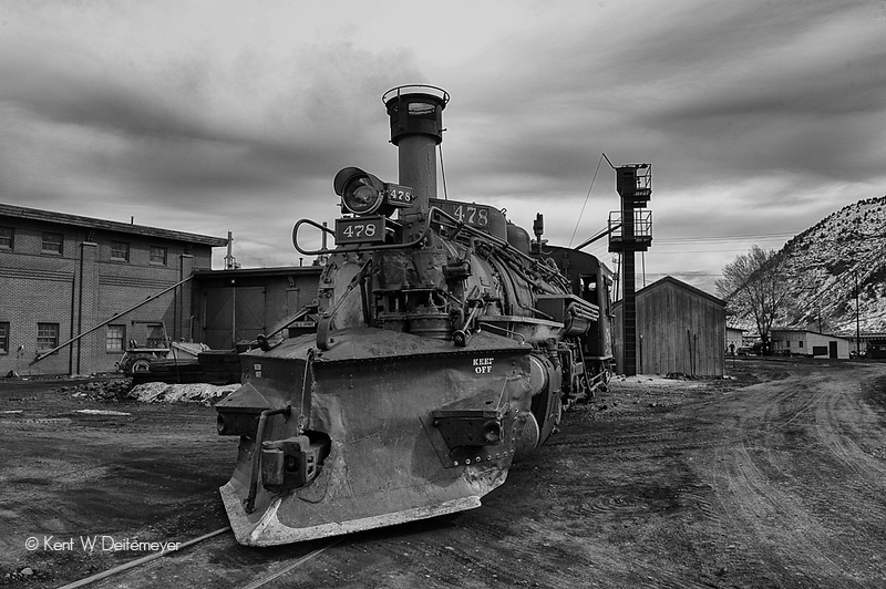 #478 on the service track at Durango roundhouse after a hard working day.