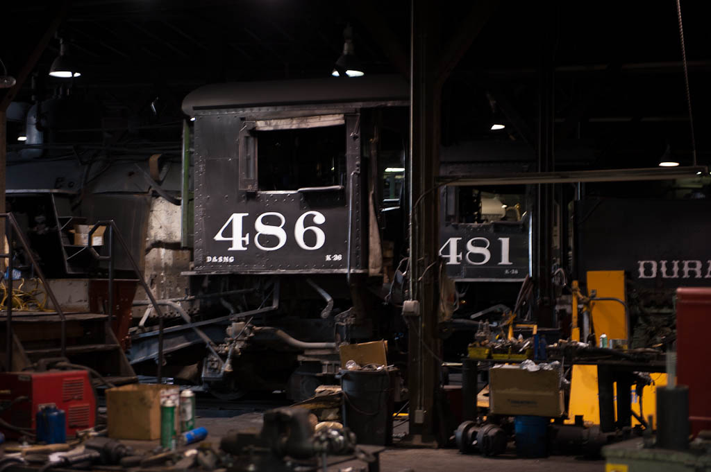 #486 and #481 in the Durango roundhouse for maintenance.
