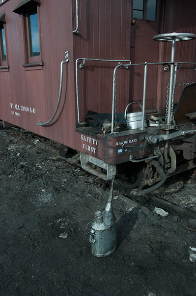 Caboose and oil can at the Durango roundhouse.