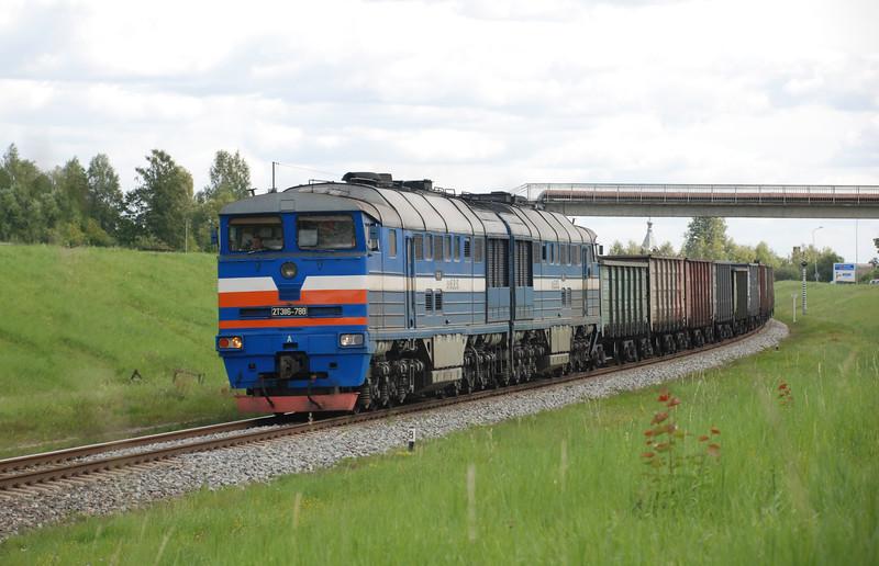 An Estonian Railway Services 2TE116 hauled coal train from Daugavpils starts the short descent into Krustpils station