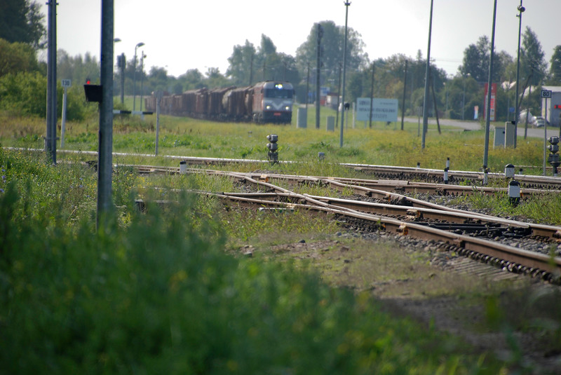 Just east of the station and the line east to Rezekne (and on into Russia) is diverging to the left with a freight approaching from Daugavpils (and from there from Belarus).