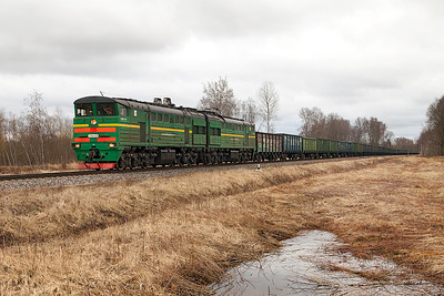 2TE10U-0216 crosses a minor road crossing near Silavas with northbound loaded coal. Tuesday 8th April 2014.
