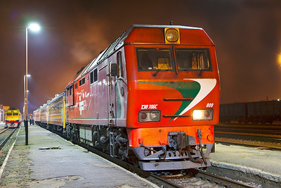 Belarus (BC) TEP70BS-009 waits to depart from Daugavpils with the overnight portion to Minsk. Tuesday 8th April 2014.