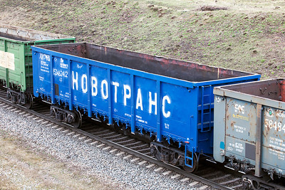 HOBOTPAHC (NOVOTRANS) open bogie wagon for carrying coal. April 2014.