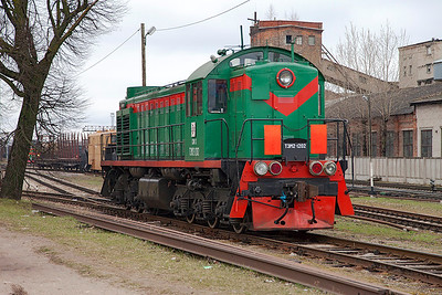 TEM2-1202 waits to enter the shed at Daugavpils. Tuesday 8th April 2014.