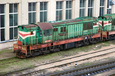 Ex Estonian Railways (EVR) ChME3-1307 from Muuga Docks stored alongside Riga Depot. Monday 7th April 2014.