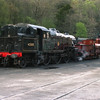 Fairburn 42085 and Furness20 sit simmering in the yard at Haverthwaite after the days duties on the L&HR, 23/4/2000.