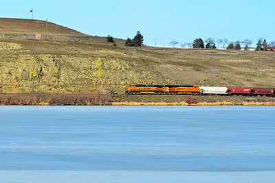 Westbound 1092 passes a frozen Sprague Lake